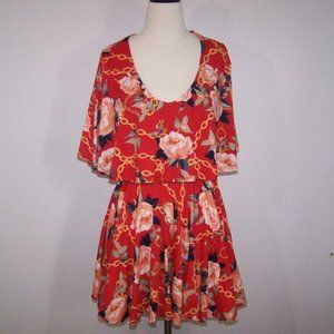 Rebdolls Mini Dress Large Flowy Layered Red Floral Chain Print Soft & Stretchy